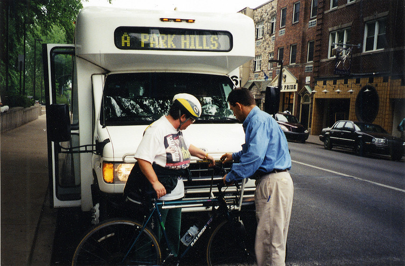 "In 1993, a $24,000 TE grant installed bike racks on all buses in the Centre Area Transportation Authority (CATA) fleet.  The CATA system handles over six million rides per year, for seven separate townships and two boroughs, including State College (home of Pennsylvania State University). The bike racks allow nonmotorized travelers to conveniently reach bus stops from greater distances, expanding the number of origins and destinations served by the system without costly service increases.<br /> <br /> TE funds have been used to install bike racks for dozens of transit agencies across the US.  These popular low-cost projects make it easier for nonmotorized travelers to use transit.  42 similar bike-on-bus projects have been accomplished with TE funds in 17 states since 1992.<br /> <br /> See the bike racks in action in a brief instructional video on the CATA website: <a href=""http://catabus.com/HowToVideos/BikeRacks/index.html"">http://catabus.com/HowToVideos/BikeRacks/index.html</a>#"