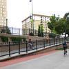 This access ramp was constructed in 2005 using TE funds.<br /> <br /> The Cherry Creek Trail runs from downtown Denver for more than 40 miles, connecting multiple suburbs and counties to the heart of the city.  The trail is below grade for much of the way, following the bed of the creek.  This minimizes the number of road crossings, and thus reduces conflicts between cars and nonmotorized travelers.  Residences, jobs, schools, parks, and shopping are all seamlessly connected on the trail corridor.<br /> <br /> The trail is a regional effort.  Various TE grants with differing sources of matching funds have contributed to constructing and improving the trail including $417,000 in 1999 to the City of Denver, $164,844 in 2001 to the town of Glendale, $365,000 in 2003 to Arapahoe County, and an additional $315,000 to Denver in 2005.  The end product is a trail that is one of the spines of a regional network of trails connecting travelers and destinations throughout the Denver area.