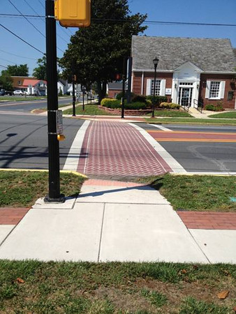 A quarter mile stretch of sidewalk was added to the residential area of Dagsboro in Sussex County, Delaware. The project was completed in 2012 and runs from Clayton Street to Vines Creek Road along SR 20. The project included crosswalks, pedestrian lighting, ADA curb ramp upgrades, upgraded signage, and minor landscaping in addition to sidewalks. $406,400 in TE funding with a match of $101,600 was used to complete the category 1 project.