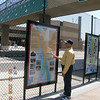 The new plaza includes interpretive panels describing the history of the region.<br /> <br /> The US/Mexico border between San Diego, CA and Tijuana in Mexico is the busiest land border crossing in the world.  Over 30 million vehicles and 18 million pedestrians cross annually, with the border gateway at Interstate 5 suffering significant congestion. Additional delays and safety issues were caused by large numbers of nonmotorized travelers coming into conflict with cars and trucks at the crossing.<br /> <br /> The California Department of Transportation initiated the International Friendship Plaza project to address these issues, and to transform the crossing at Interstate 5 from one more large piece of ugly infrastructure to a human-scale, comfortable, interesting, and clean border crossing experience. The project created a new plaza and promenade on the California side of the crossing, improved circulation through transit and private-vehicle drop-off areas, accessible pathways and turnstiles for disabled travelers, bicycle parking facilities, and formal pedestrian street crossing routes. Public art, historic interpretation, trash receptacles, lighting, and plantings all enhance the experience for travelers passing through the crossing.<br /> <br /> The project was funded in part through $2,246,000 in federal TE funds in 2003. In 2008, the completed project was recognized as outstanding with an Exemplary Human Environment Initiatives (EHEI) award by the Federal Highway Administration.