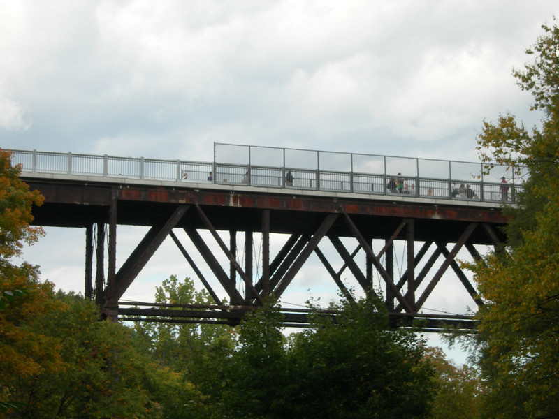 """Photo Credit: Daniel Tobias  The <a href=""""http://nysparks.state.ny.us/parks/178/details.aspx""""> Walkway Over the Hudson State Historic Park<a/> opened to the public in October of 2009. The walkway rests on the former Poughkeepsie-Highland Railroad Bridge which provided passage for freight and passenger trains between New York City and New England. The bridge was in service for nearly a century until a 1974 fire severely damaged the bridge. After the fire the bridge was out of service for decades.   In 1998 <a href=""""http://walkway.org/""""> Walkway Over the Hudson<a/>--a non-profit with the mission of connecting people to the Hudson Valley through stewardship of the State Historic Park--assumed ownership and began efforts to revitalize the bridge. In May of 2008 construction began. After the park opened an American Recovery and Reinvestment Act project was funded with $2.4 million through the TE program. The ARRA project aimed to increase access between the bridge and the waterfront and streets of Poughkeepsie, enhance multi-modal access between the walkway and the Poughkeepsie train station, and increase parking and facilities for persons with disabilities. The project will include a 21-story elevator, pathways along the waterfront and to the train station, and stair access on the eastside of the bridge.     The bridge has proven to be widely popular in its first year in providing people with a great place to walk, bike, rollerblade, or jog. With connections to the Dutchess County Rail Trail and Hudson Valley Rail Trail, the bridge makes it easier for local citizens and tourists to travel around the Hudson Valley. The trail has proven very popular, and actual use of the bridge is nearly 3 times higher than anticipated."""