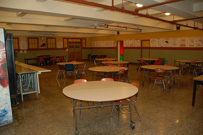 the cafeteria on the lower level of the main building