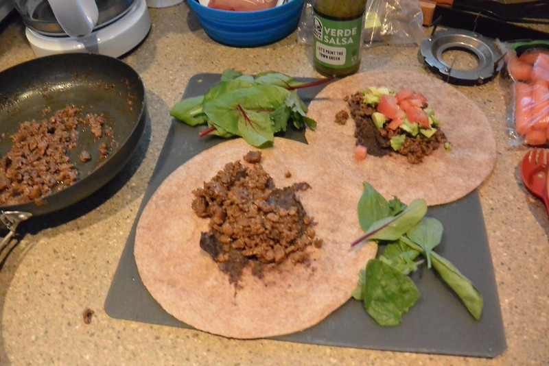 then some vegi taco meat - with moms homemade taco seasoning