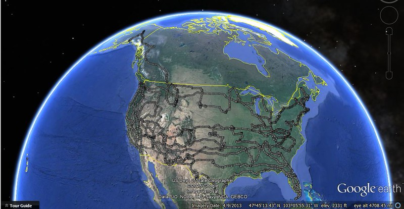53000 Miles - all 50 states, 3 Canadian provinces, sept 19, 14 to sept 27,15.