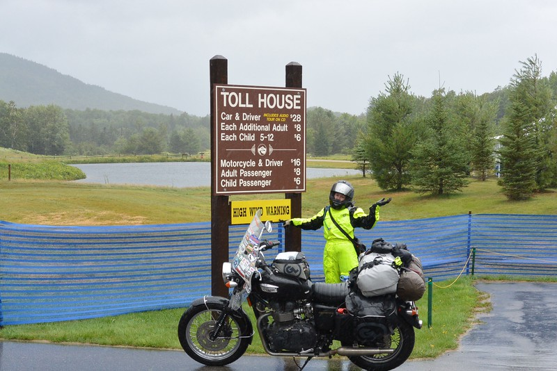 After leaving Maine went back into NH to try and ride Mt. Washington...it was closed to motorcycles 3 hrs before my arrival due to high winds and just 45 minutes before my arrival they closed the roads to all traffic - I hit the rains about 30 minutes before and figured it would close the steep road - I would ride in this rain for the next 4 hours :(