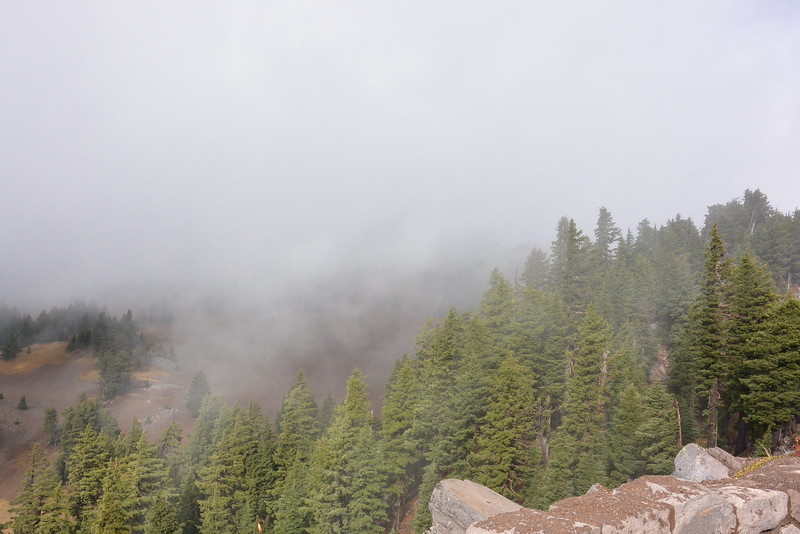 Had a little rain, then clear for the lake but windy, then some fog that was scary on the turns and not seeing the drop below just fog!