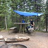Had light rain everyday in Yellowstone  set up a clean area for cooking!