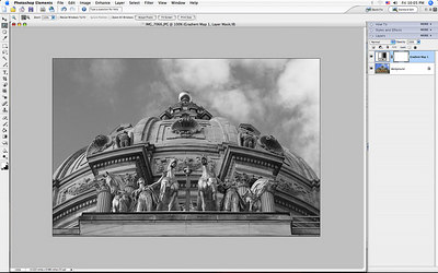 "In layers, add a gradient map layer in ""normal"" mode at 100%.  Make sure the colors are black and white when doing this."