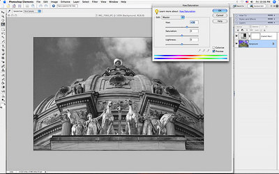 as you adjust the Hue slider, you can see the difference in the grays in the shot.
