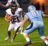 William Tennent running back Sean Bragen runs up against North Penn's Nathan Brown Oct. 20, 2017. (Bob Raines--Digital First Media)