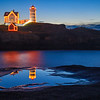 Cape Neddick Light with holiday lights, morning, and reflections