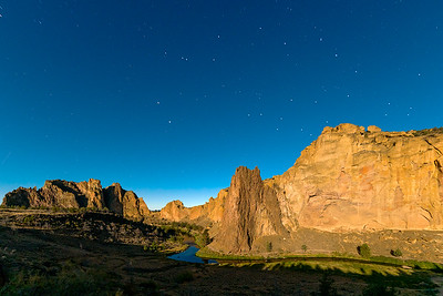 image of Smith Rock, Oregon from the light of a full moon.