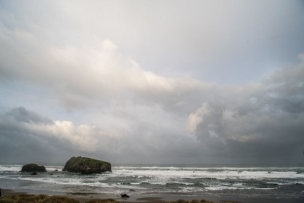 early morning March weather in Bandon, OR