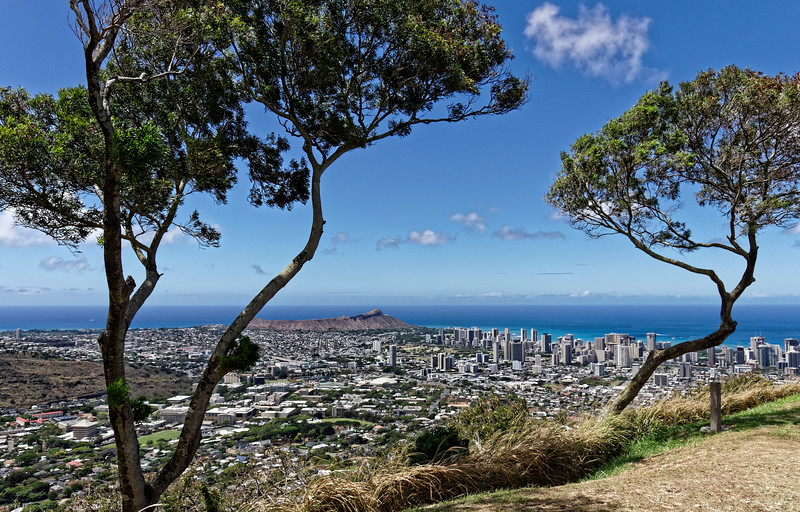 Diamond Head, lower Manoa Valley, and downtown Honolulu from Tantalus