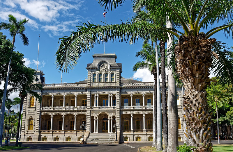 19th-century 'Iolani Palace served as royal residence for several monarchs of the Hawaiian Kingdom, the last of whom, Queen Lili'uokalani, saw the Kingdom overthrown by U.S. business interests aided by U.S. Marines.