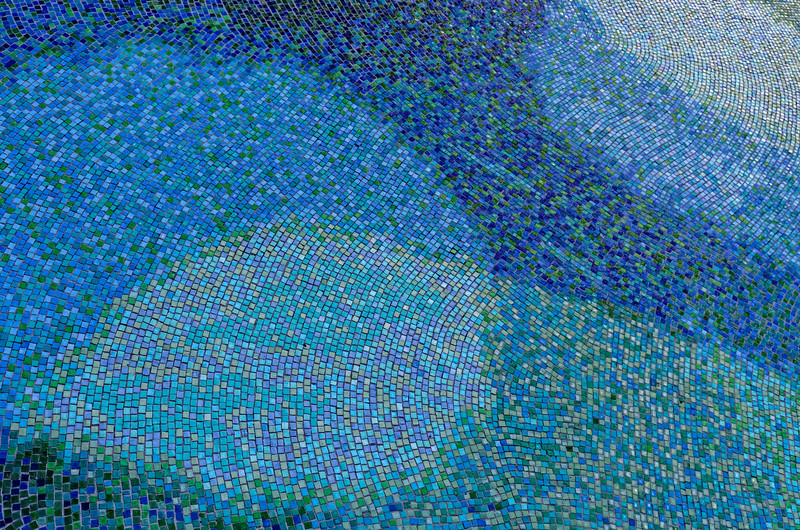 Detail of the tile floor mosaic by Tadashi Sato beneath the central opening in the Capitol's roof, meant to echo patterns and colors of Hawai'i's coastal waters