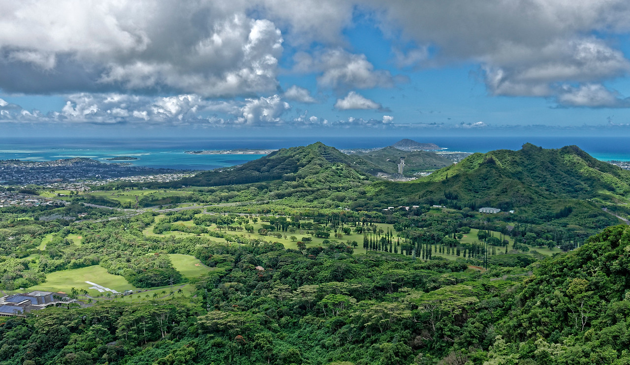 View from Nu'uanu Pali lookout, looking towards the windward side of the island