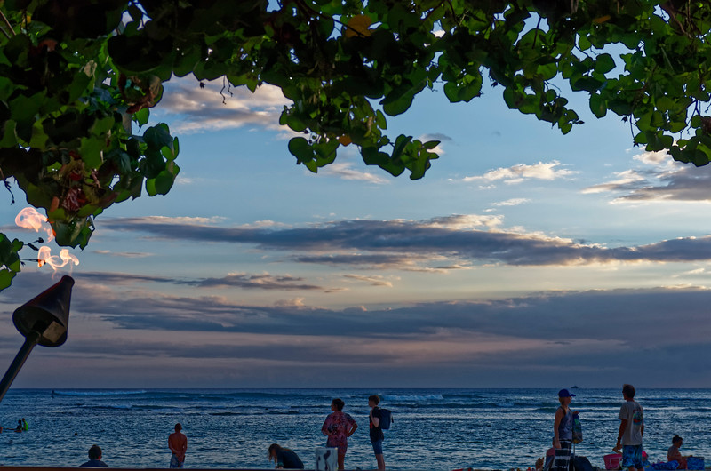 End of the day at Kaimana Beach, just a short way up the shore from Waikiki Beach
