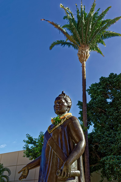 Viewed from this angle, the palm behind Lili'uokalani seems to suggest a feathered <i>kahili,</i> a royal standard emblematic of Hawai'i's monarchs.