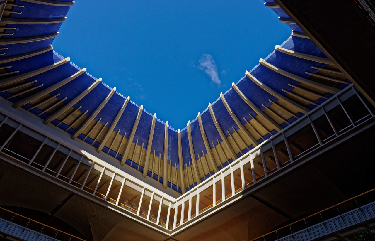 The central opening to the sky within the Capitol, suggestive of the inner core of a volcano