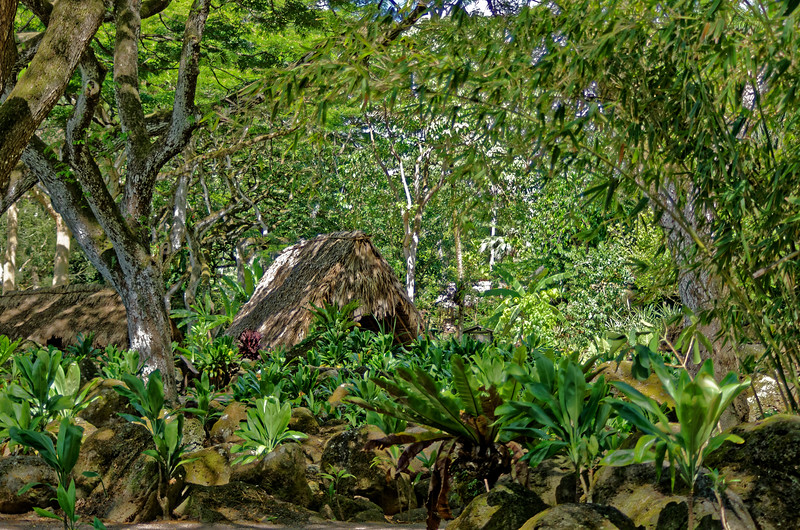 A few traditional Native Hawaiian structures have been recreated within the Waimea Valley Arboretum, which lies in a valley that has long been of historical and spiritual significance to Native Hawaiians, its original inhabitants.