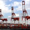 Container cranes at Osaka Bay Harbor, Japan
