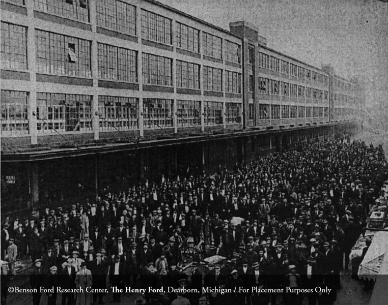 Applicants at the Ford Motor Company plant in Highland Park, January 1914. From the Collections of The Henry Ford. THF94858 (core)