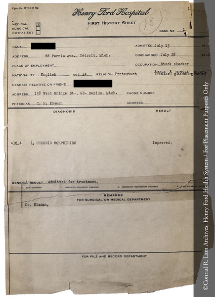 Henry Ford Hospital early patient record, 1915. From the Conrad R. Lam Collection, Henry Ford Health System. ID=01-019
