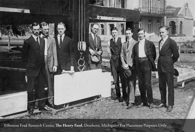 The architect Albert Wood with other dignitaries at the cornerstone laying for Henry Ford Hospital in 1917. From the Conrad R. Lam Collection, Henry Ford Health System. ID=01-015