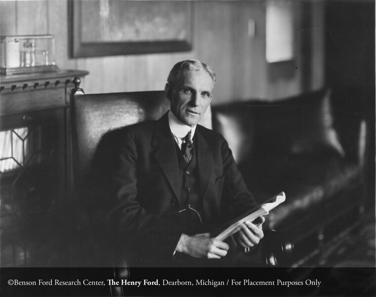 Henry Ford in his office at the Ford Motor Company Highland Park plant, c.1920. From the Collections of The Henry Ford. THF113408 (core)