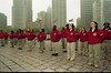 101494B_313<br /> CITY YEAR'S FOUNDING CORPS OPENING DAY RECEPTION & CEREMONY W/ REPRESENTATIVES FROM HFHS; (AN AMERICOPRS PROGRAM), HART PLAZA, 1999