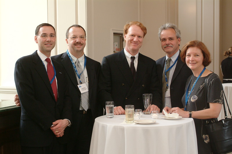 47657_DSCF0076;<br /> 6 CLINIC CONFERENCE - EVENINIG RECEPTION; PICTURED ARE TOM GROTH, MICHAEL BENNINGER, TOM NANTIS,AND KATHLEEN YAREMCHUK; 2004