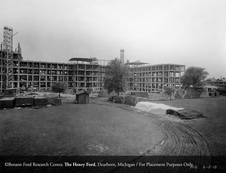 Construction of Henry Ford Hospital, June 5, 1918. From the Conrad R. Lam Collection, Henry Ford Health System. ID=02-029