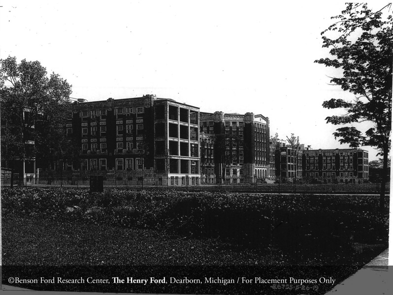 Henry Ford Hospital from West Grand Boulevard in 1919. From the Collections of The Henry Ford: Acc. 1660, Box 117, P833.26755