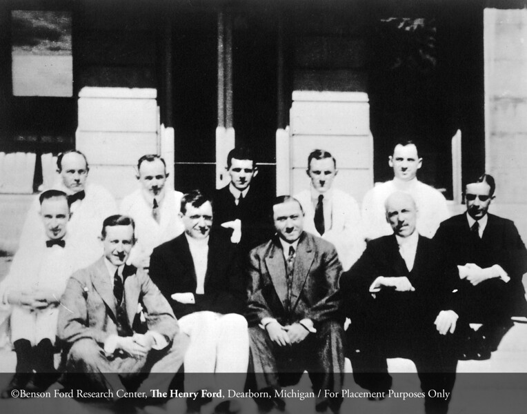 The first Henry Ford Hospital staff, Dr. Charles H. Watt, Dr. Frank J. Sladen, Dr. Roy D. McClure, Ernest G. Liebold, John N.E. Brown, Dr. F. Janney Smith, Dr. John K. Ormond, unknown, Dr. Russel Haden, Dr. David R. Murchison and Dr. Irvin L. Barclay, 1916. From the Conrad R. Lam Collection, Henry Ford Health System. ID=01-011