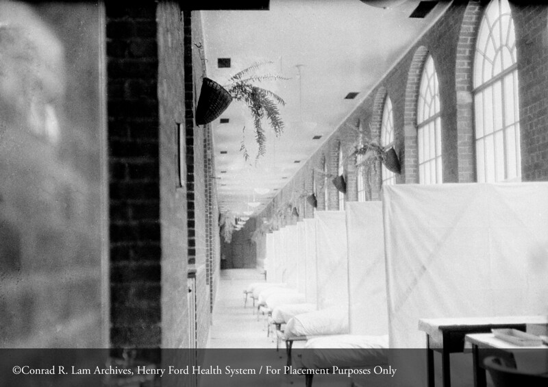 The Henry Ford Hospital Flu epidemic ward in 1919. From the Conrad R. Lam Collection, Henry Ford Health System. ID=02-004