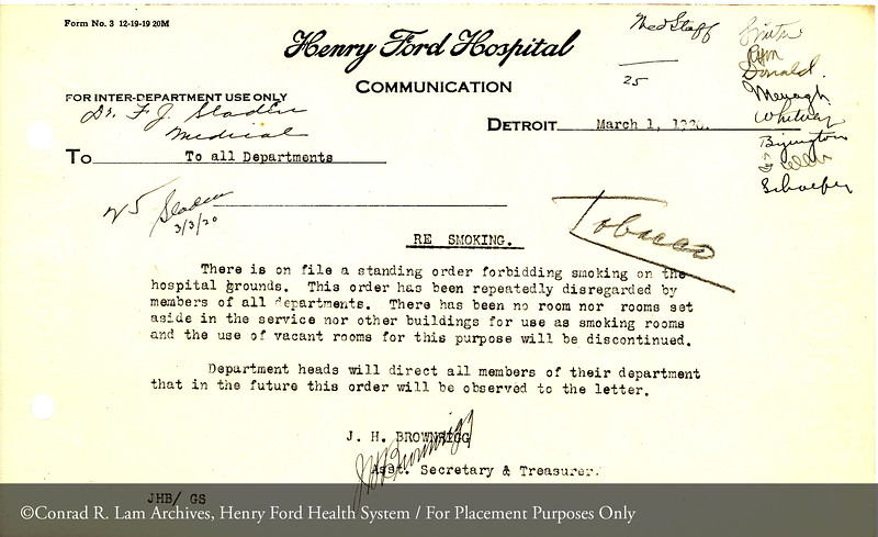 A Henry Ford Hospital memorandum on the anti-smoking policy dated March 1, 1920. From the Conrad R. Lam Collection, Henry Ford Health System. ID=02-024
