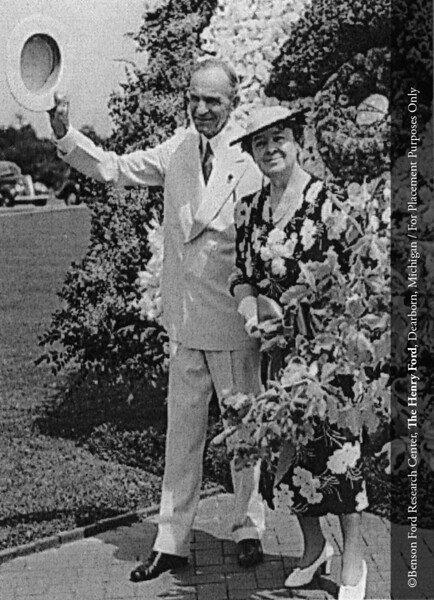 Henry Ford and Clara Bryant Ford on the occasion of this 75th birthday on June 30, 1938. From the Collections of The Henry Ford: Acc. 833, Box 41A, P833.81652