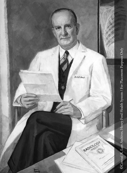 A painting of Dr. Howard P. Doub, the first chair of the Department of Roentgenology, by the artist Roy C. Gamble in 1960. From the Conrad R. Lam Collection, Henry Ford Health System. ID=02-014