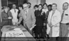 Dr. C. Paul Hodgkinson with Drs. Porter, Karin Balchandani, Richard Smith, Lois Berman, Robert Goldfarb, unidentifed residents, Sari Maxwell, Brent Davidson, Kwabena Appiah, Wallin (?) and unidentified. From the Conrad R. Lam Collection, Henry Ford Health System. ID=03-039