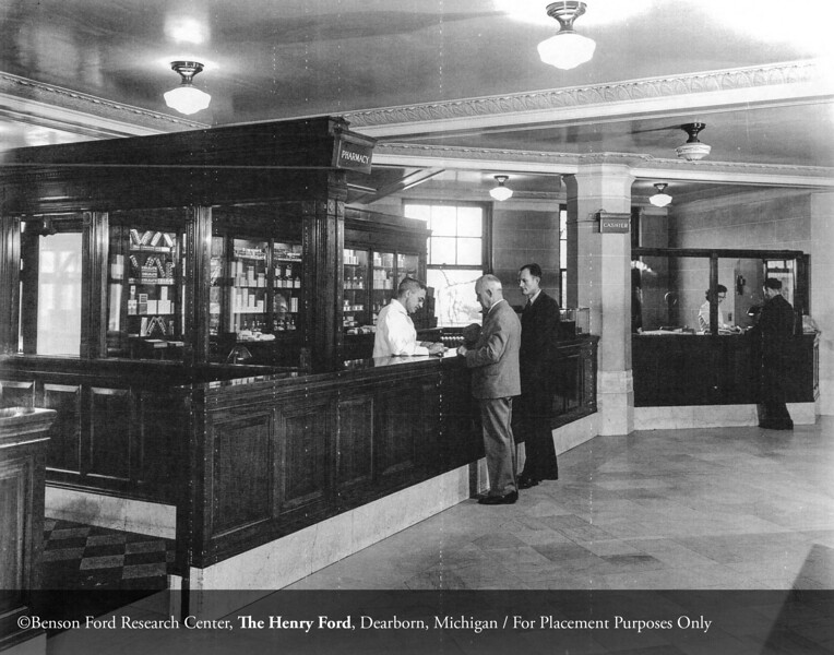 The Henry Ford Hospital main lobby pharmacy, c.1930. From the Collections of The Henry Ford. THF117542 (core)