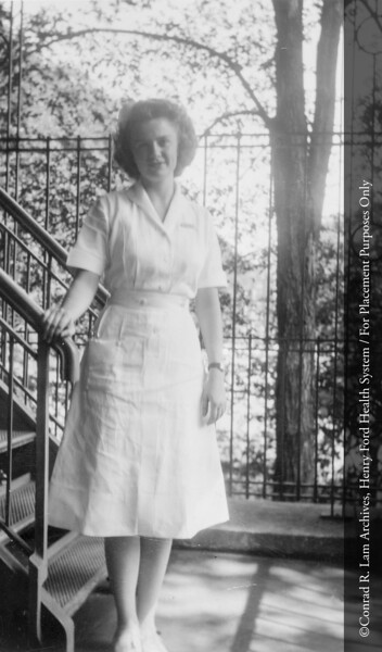 Iris Dawson, R.N. at the Henry Ford Hospital School of Nursing and Hygiene, 1947. From the Conrad R. Lam Collection, Henry Ford Health System. ID=04-049