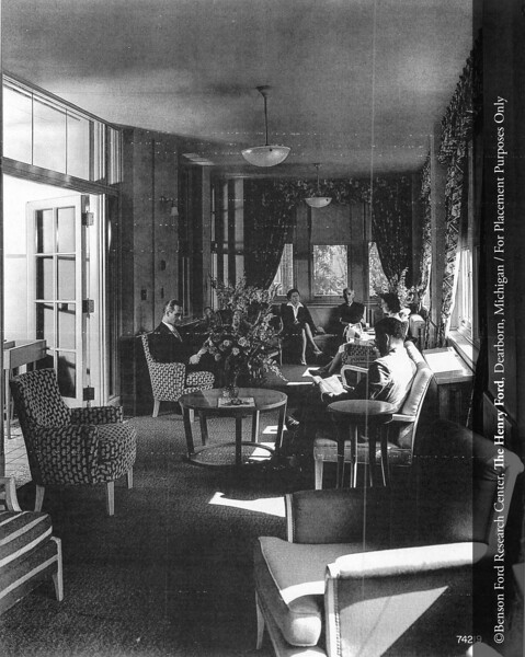 A Henry Ford Hospital sun room porch for visitors, c.1945. From the Collections of The Henry Ford: Acc. 833, Box 17, P833.74219