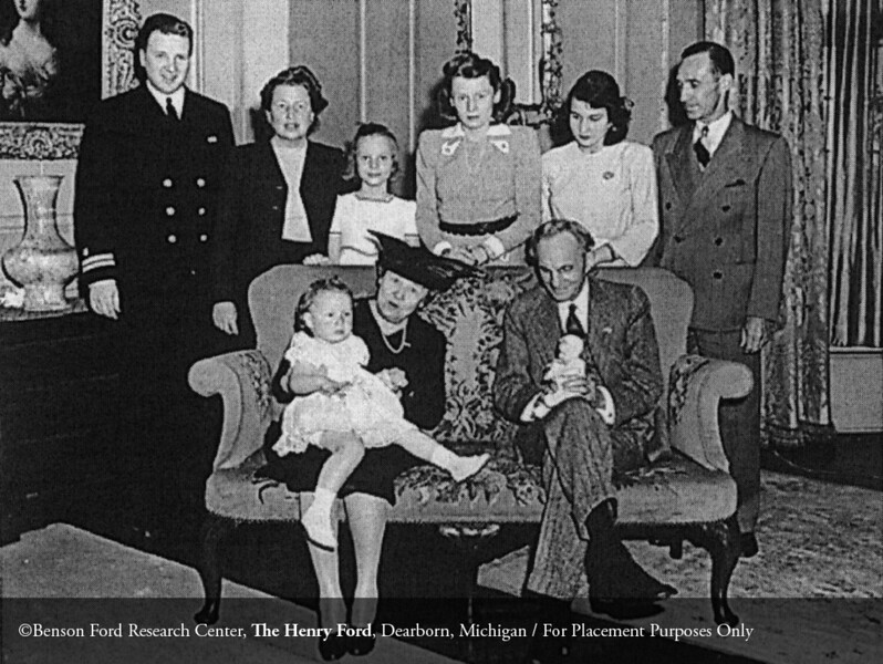Clara Bryant Ford, Henry Ford, Henry Ford II, Eleanor Clay Ford, Josephine Clay Ford, Anne McDonald Ford, Charlotte Ford and unidentified woman, April 22, 1943. From the Collections of The Henry Ford: Acc. 833, Box 44, P833.77863.13