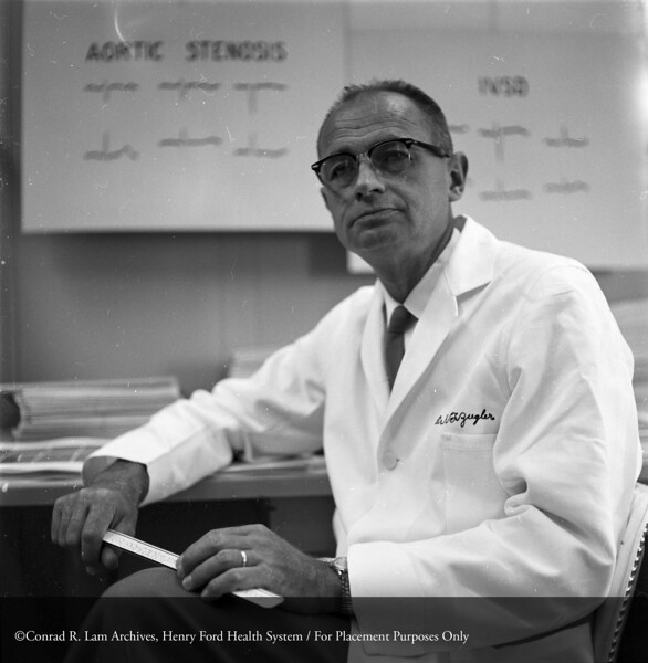 Dr.  Ziegler in his office, October 20, 1959. From the Conrad R. Lam Collection, Henry Ford Health System. ID=04-050