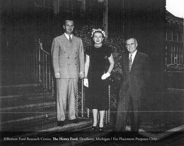 Benson Ford, Edith McNaughton Ford and Dr. Roy D. McClure, September 19, 1947. From the Collections of The Henry Ford. THF117560 (core)