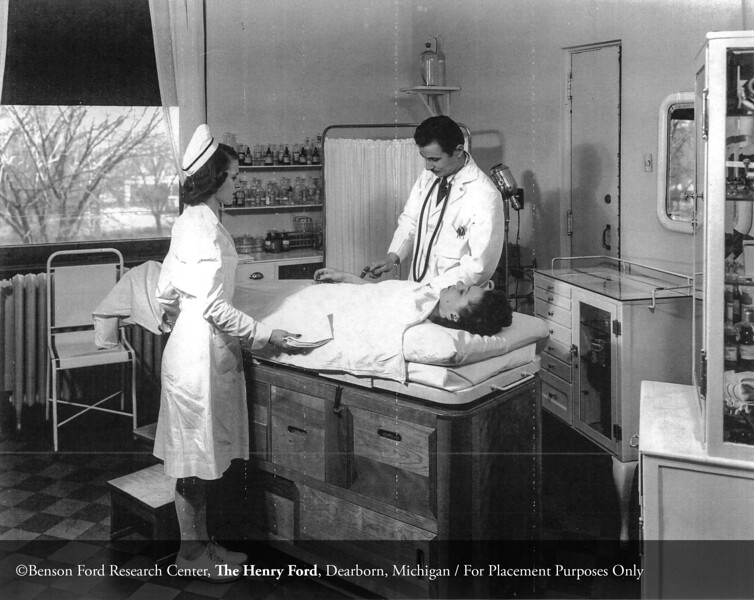Dr. Joseph P. Szokolay during an examination in the employee health department in 1946. From the Collections of The Henry Ford. THF117545 (core)
