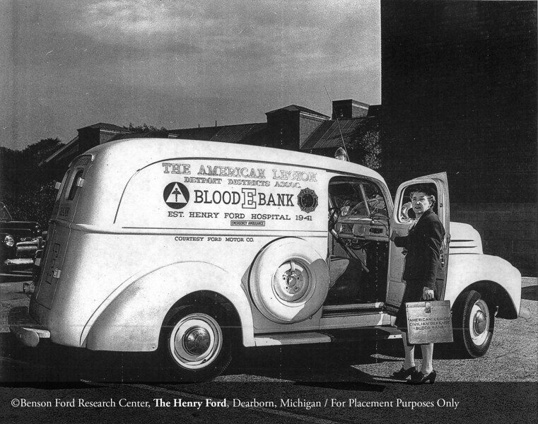 The American Legion Civil Defense Blood Bank truck donated by the Ford Motor Company in 1941. From the Collections of The Henry Ford: Acc. 833, Box 17, P833.8063