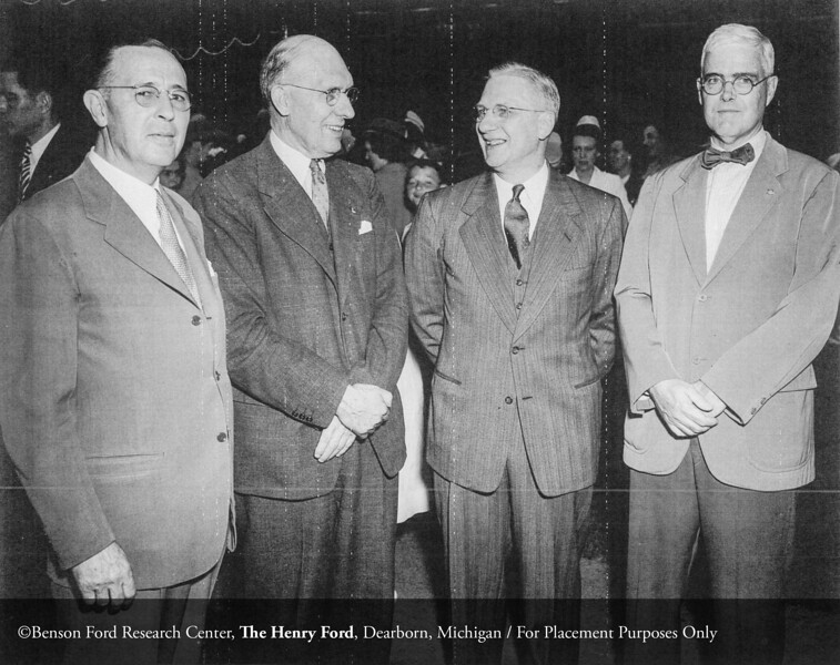 Henry Ford Hospital administrator, Israel Peters with unidentified man, Dr. Frank Hartman and Arthur McGraw at a Henry Ford Hospital School of Nursing graduation, c.1940. From the Collections of The Henry Ford: Acc. 833, Box 18, P833.82911