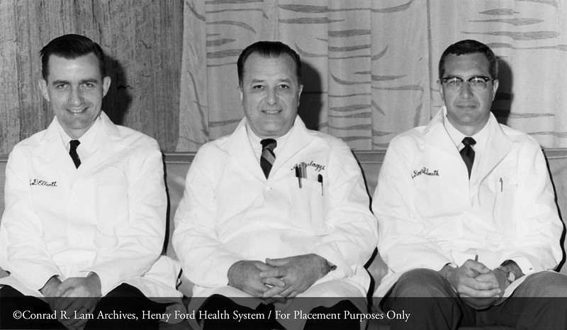 Drs. Joseph P. Eliott, D. Emerick Szilagyi and Roger F. Smith, June 25, 1968. From the Conrad R. Lam Collection, Henry Ford Health System. ID=05-008